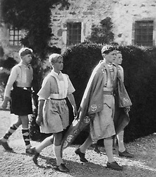 A twelve year old Prince Philip of Greece (2nd from left) takes part in an historical pageant at Gordonstoun School, Moray, Scotland.