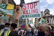 Free Kashmir protest on 5th August 2020 in Birmingham, United Kingdom. Kashmiri and Pakistani communities observed this day as a Black Day, in reference to the Indian government's actions of removing Kashmir's special status, on 5th August 2019, and showing solidarity with their fellow Kashmiris. Due to the Coronavirus, many of the protesters were wearing face masks and observing social distancing.