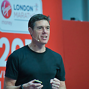 Motivational marathon coach Martin Yelling at London Marathon Exhibition 2019 - ExCeL London on 26 April 2019, London, UK.