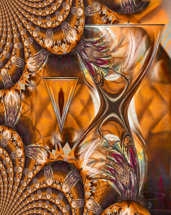 """""""The Queen's Goblet"""", derivative image created from a photo of a single wine glass, evening light, autumn, December, private residence, Tacoma, Washington, USA"""