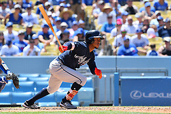 June 10, 2018 - Los Angeles, CA, U.S. - LOS ANGELES, CA - JUNE 10: Atlanta Braves second baseman Ozzie Albies (1) gets a base hit during a MLB game between the Atlanta Braves and the Los Angeles Dodgers on June 10, 2018 at Dodger Stadium in Los Angeles, CA. (Photo by Brian Rothmuller/Icon Sportswire) (Credit Image: © Brian Rothmuller/Icon SMI via ZUMA Press)