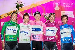 Roxane Knetemann (Ned) Rabo-Liv Woman Cycling, Pauline Ferrand-Prévot (Fra) Rabo-Liv Woman Cycling, Annemiek Van Vleuten (Ned) Bigla Pro Cycling, Lucinda Brand (Ned) Rabo-Liv Woman Cycling and Valentina Scandolara (Ita) Orica - Ais Team during flower ceremony after the Prologue - Time Trial (2km) at 26th Giro Rosa 2015 Women cycling race, on July 3, 2015 in Centre, Ljubljana,  Slovenia. Photo by Vid Ponikvar / Sportida