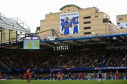21 October 2017 -  Premier League - Chelsea v Watford - Eden Hazard, Tiemoue Bakayoko, Gary Cahill and David Luiz of Chelsea feature on a giant poster overlooking Stamford Bridge - Photo: Marc Atkins/Offside