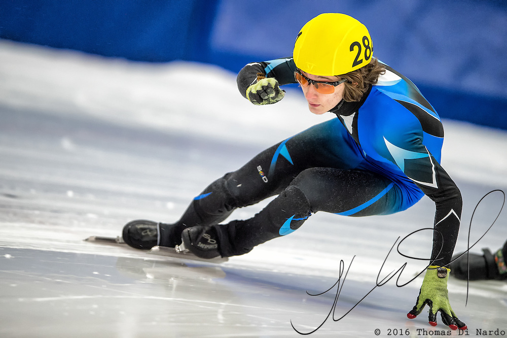 March 18, 2016 - Verona, WI - Lukas Anderson, skater number 284 competes in US Speedskating Short Track Age Group Nationals and AmCup Final held at the Verona Ice Arena.