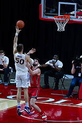 NORMAL, IL - February 27: Austin Phyfe lifts a shot over Dusan Mahorcic during a college basketball game between the ISU Redbirds and the Northern Iowa Panthers on February 27 2021 at Redbird Arena in Normal, IL. (Photo by Alan Look)