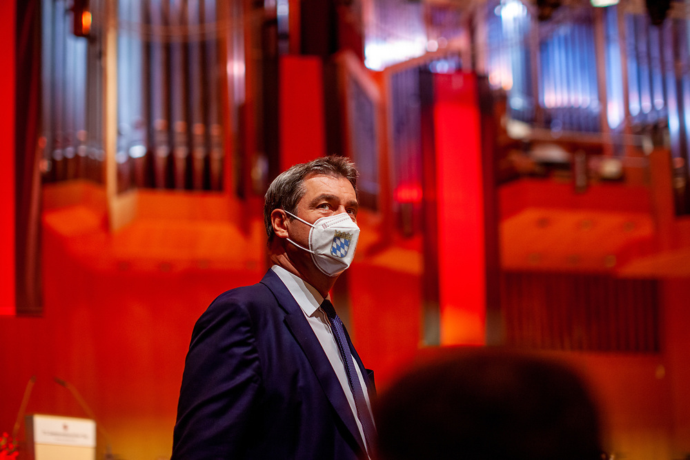 """Bavarian State Premier Markus Söder during the ceremony including the awarding of the European Charles Prize  during the 71st Sudeten German meeting at the """"Philharmonie im Gasteig"""" in Munich."""