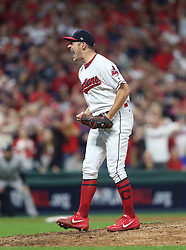 October 5, 2017 - Cleveland, OH, UKR - Cleveland Indians pitcher Trevor Bauer reacts after striking out the New York Yankees' Aaron Judge with a runner on third base in the sixth inning during Game 1 of the American League Division Series on Thursday, Oct. 5, 2017, at Progressive Field in Cleveland. (Credit Image: © Phil Masturzo/TNS via ZUMA Wire)