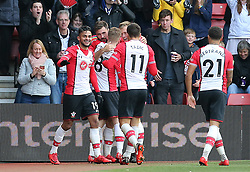Southampton's Charlie Austin (2nd left) celebrates scoring his side's second goal with his team-mates during the Premier League match at St Mary's, Southampton.