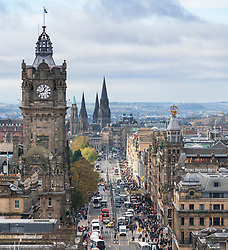 Daytime view along Princes Street in Edinburgh the major shopping street in the city, Scotland, UK.