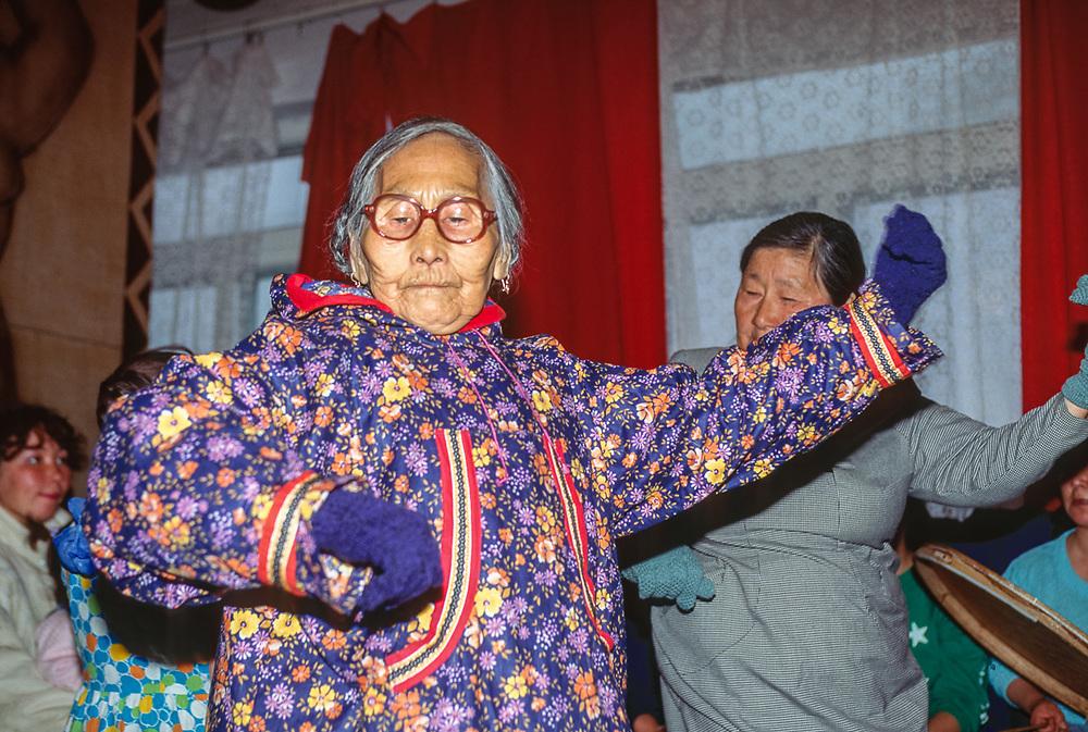 Elder native dancers, Village of Uelen, Chukotsk Peninsula, Northeast Russia, 1992