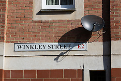 © Licensed to London News Pictures. 21/05/2015. London, UK. General view of Winkley Street in Bethnal Green. William Lincoln of Winkley Street, E1 has been charged with conspiracy to burgle following the Hatton Garden heist. Photo credit : Vickie Flores/LNP