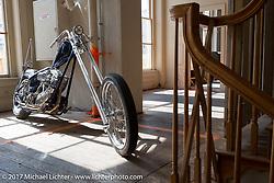 Bill Dodge's In Motion Bike Show custom Shovelhead at the Lone Star Rally. Galveston, TX. USA. Sunday November 5, 2017. Photography ©2017 Michael Lichter.