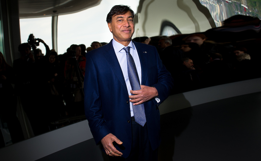 Steele Magnate and richest man in the UK and 6th richest man in the world Lakshmi Mittal at the unveiling ceremony on May 11th 2012,  designed by Anish Kapoor, London, Britain.photos by  Ki Price
