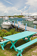View of the harbor and lighthouse in the tiny village of Hope Town, Elbow Cay Abacos, Bahamas.