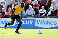 Frank Nouble of Newport County in action. EFL Skybet football league two match, Newport county v Wycombe Wanderers at Rodney Parade in Newport, South Wales on Saturday 9th September 2017.<br /> pic by Andrew Orchard, Andrew Orchard sports photography.
