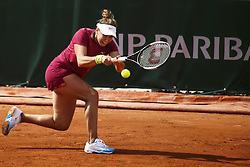 May 22, 2019 - Paris, France - Kristina Kucova of Slovakia in action during her women's singles of the first qualifications round of Roland Garros against Czech Republic's Denisa Allertova, on 22 May 2019 in Paris, France, (Credit Image: © Ibrahim Ezzat/NurPhoto via ZUMA Press)