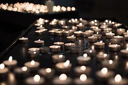 15 April 2019, Jerusalem: Lights burn in the Saint Anne's Basilica.