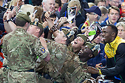 Mcc0055084 . Daily Telegraph<br /> <br /> British soldiers have a selfie taken with Usain Bolt on Day 10 of the 2014 Commonwealth Games in Glasgow .<br /> <br /> <br /> Glasgow 2 August 2014