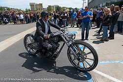 Craig Foxworthy rode his Father-In-Law Arlen's Harley-Davidson digger Diamond bike for the Arlen Ness Memorial - Celebration of Life ride from the CrossWinds Church in Livermore to the Arlen Ness Motorcycle store in Dublin, CA, USA. Saturday, April 27, 2019. Photography ©2019 Michael Lichter.