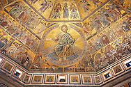 The Medieval mosaics of the ceiling of The Baptistry of Florence Duomo ( Battistero di San Giovanni ) showing Christ and the Last Judgement Day started in 1225 by Venetian craftsmen in a Byzantine style and completed in the 14th century. Florence Italy .<br /> <br /> If you prefer you can also buy from our ALAMY PHOTO LIBRARY  Collection visit : https://www.alamy.com/portfolio/paul-williams-funkystock/byzantine-art-antiquities.html . Type -   Florence   - into the LOWER SEARCH WITHIN GALLERY box. Refine search by adding subject etc<br /> <br /> Visit our BYZANTINE ART PHOTO COLLECTION for more   photos  to download or buy as prints https://funkystock.photoshelter.com/gallery-collection/Roman-Byzantine-Art-Artefacts-Antiquities-Historic-Sites-Pictures-Images-of/C0000lW_87AclrOk .<br /> <br /> Visit our ITALY PHOTO COLLECTION for more   photos of Italy to download or buy as prints https://funkystock.photoshelter.com/gallery-collection/2b-Pictures-Images-of-Italy-Photos-of-Italian-Historic-Landmark-Sites/C0000qxA2zGFjd_k<br /> .<br /> <br /> Visit our MEDIEVAL PHOTO COLLECTIONS for more   photos  to download or buy as prints https://funkystock.photoshelter.com/gallery-collection/Medieval-Middle-Ages-Historic-Places-Arcaeological-Sites-Pictures-Images-of/C0000B5ZA54_WD0s