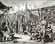 Simon Kramer, in Bergen op Zoom, refusing to go through a passage.  He was then captured and burned. (Approx. 1553).  About the year 1553 there was at Bergen op Zoom, in Brabant, a shopkeeper, named Simon, who stood in the marketplace, to sell his wares. When the priests passed him with their idol, Simon did not dare give divine honour to this idol made by human hands, but, according to the testimony of God presented in the holy Scriptures, would worship and serve only the Lord his God. He was therefore apprehended by the maintainers of the Roman antichrist, and examined in the faith, which he freely confessed, rejecting their self-invented infant baptism together with all human commandments, and holding fast only to the testimony of the Word of God; hence he was sentenced to death and was burnt