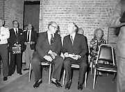 24/08/1984<br /> 08/24/1984<br /> 24 August 1984<br /> Opening of ROSC '84 at the Guinness Store House, Dublin. Lord Iveagh and President Hillery chat on the podium at the exhibition opening.