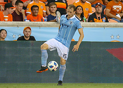 July 18, 2018 - Houston, TX, U.S. - HOUSTON, TX - JULY 18:  Houston Dynamo defender Dylan Remick (15) traps the ball during the US Open Cup Quarterfinal soccer match between Sporting KC and Houston Dynamo on July 18, 2018 at BBVA Compass Stadium in Houston, Texas. (Photo by Leslie Plaza Johnson/Icon Sportswire) (Credit Image: © Leslie Plaza Johnson/Icon SMI via ZUMA Press)