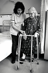 Elderly woman in City Hospital, Nottingham UK 1991
