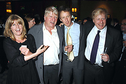 Left to right, RACHEL JOHNSON, STANLEY JOHNSON, SEBASTIAN SHAKESPEARE and BORIS JOHNSON at a party to celebrate the 180th Anniversary of The Spectator magazine, held at the Hyatt Regency London - The Churchill, 30 Portman Square, London on 7th May 2008.<br />
