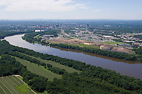Aerial view of landfill and farms along the Connecticut River approach to Hartford from north.