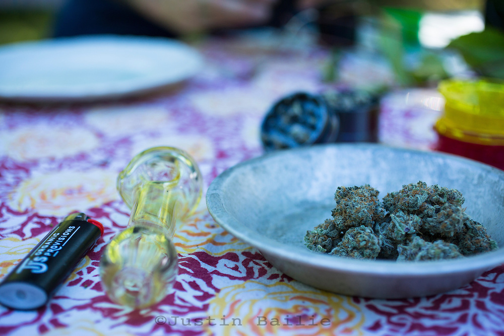 Cannabis at a cannabis pairing dinner party at North Fork 53 near Nehalem, Oregon. North Fork 53 is an educational farm stay in the beautiful North Fork Nehalem River valley along the Oregon coast.