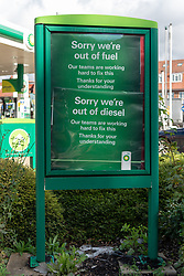 © Licensed to London News Pictures. 27/09/2021. London, UK. A BP petrol station in Gunnersbury, West London is closed due to problems with the supply and distribution chain. This has also prompted panic buying by motorists in the last few days. Companies including BP and Shell have restricted deliveries due to the lack of HGV drivers. Photo credit: Ray Tang/LNP