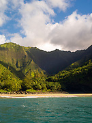 View of Hanakapiai Beach on the stunning Na Pali Coast on the western side of Kauai, Hawaii, USA.