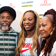 Sanya Richards-Ross, USA, with her parents Sharon and Archie Richards at the Adidas Grand Prix Press Conference, Hyatt Grand Central, New York ahead of he Adidas Grand Prix at Icahn Stadium, Randall's Island. Manhattan, New York. 23rd May 2012. Photo Tim Clayton