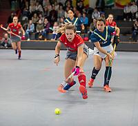 HAMBURG  (Ger) - Match 19,  for bronze , Der Club an der Alster (Ger) - Club Campo de Madrid (Esp)  Photo: Anne Schröder (Alster) with Sara Barrios (Madrid) .Eurohockey Indoor  Club Cup 2019 Women . WORLDSPORTPICS COPYRIGHT  KOEN SUYK