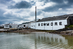 view of Bowmore scotch whisky distillery in Bowmore on Islay, Inner Hebrides , Scotland, UK