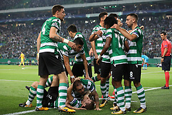 October 31, 2017 - Lisbon, Lisbon, Portugal - Sportings midfielder Bruno Cesar from Brazil celebrating with is team mate after scoring a goal during the match between Sporting CP v Juventus FC UEFA Champions League playoff match at Estadio Jose Alvalade on October 31, 2017 in Lisbon, Portugal. (Credit Image: © Dpi/NurPhoto via ZUMA Press)