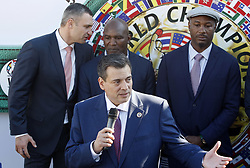 October 1, 2018 - Kiev, Ukraine - WBC President Mauricio Sulaiman (C) speaks and Kiev's Mayor and ex heavyweight boxing champion Vitali Klitschko, ex boxing champion of the World Evander Holyfield and ex boxing champion Lennox Lewis (L-R) listen an official opening of the 56th WBC ( World Boxing Council ) Convention in Kiev, Ukraine, 01 October, 2018. The 56th WBC Convention takes place in Kiev from September 30 to October 05. The event participate of boxing legends Lennox Lewis, Evander Holyfield, Eric Morales, Alexander Usik, Vitali Klitschko and about 700 congress participants from 160 countries. (Credit Image: © Str/NurPhoto/ZUMA Press)