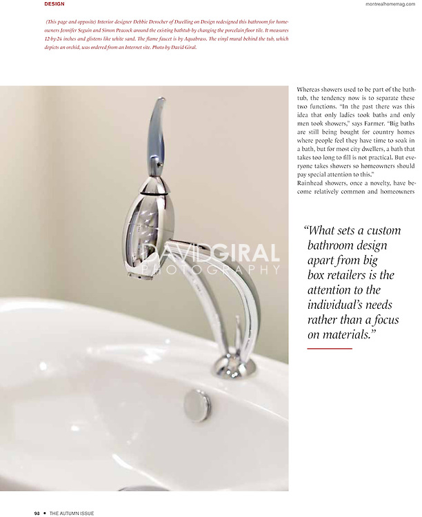 bathroom editorial for Montreal Home Magazine, Autumn Issue 2011 | design - architecture - landscape