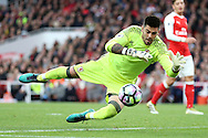 Goalkeeper Victor Valdes of Middlesbrough makes a save. Premier league match, Arsenal v Middlesbrough at the Emirates Stadium in London on Saturday 22nd October 2016.<br /> pic by John Patrick Fletcher, Andrew Orchard sports photography.