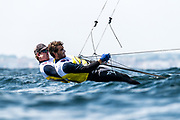 The 2019 49er, 49erFX and Nacra17 European Championships is being sailed off Weymouth and Portland, England from the 13th to 19th May, 2019. Hosted by the Weymouth And Portland National Sailing Academy, more than 400 sailors are racing across the three Olympic classes.<br /> <br /> ©DREW MALCOLM / 2019 VOLVO EUROPEANS<br /> 15th May, 2019.