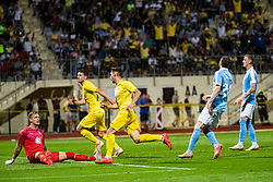 Adam Gnezda Cerin of NK Domzale with Matej Podlogar of NK Domzale and Johan Dahlin of Malmo FF during Football match between NK Domzale and Malmo FF in Second Qualifying match of UEFA Europa League 2019/2020, on July 25th, 2019 in Sports park Domzale, Domzale, Slovenia. Photo by Grega Valancic / Sportida