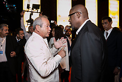 Egyptian billionaire Naguib Sawiris (left) talks with US actor Forest Whitaker before a ceremony in El Gouna, Egypt, on September 29, 2017, on the last day of El Gouna Film Festival. Photo by Balkis Press/ABACAPRESS.COM