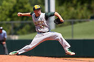 02 June 2016: Cal Poly Pomona's Tyler Rowe. The Nova Southeastern University Sharks played the Cal Poly Pomona Broncos in Game 11 of the 2016 NCAA Division II College World Series  at Coleman Field at the USA Baseball National Training Complex in Cary, North Carolina. Nova Southeastern won the semifinal game 4-1 and advanced to the championship series.