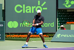 March 22, 2018 - Key Biscayne, FL, U.S. - KEY BISCAYNE, FL - MARCH 22: Donald Young (USA) in action on Day 4 of the Miami Open on March 22, 2018, at Crandon Park Tennis Center in Key Biscayne, FL. (Photo by Aaron Gilbert/Icon Sportswire) (Credit Image: © Aaron Gilbert/Icon SMI via ZUMA Press)