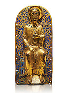 Medieval relief panel depicting Christ, Enamel on gold from Limoges, circa 1220-1230. Inv OA 11935, The Louvre Museum, Paris..<br /> <br /> If you prefer you can also buy from our ALAMY PHOTO LIBRARY Collection visit : https://www.alamy.com/portfolio/paul-williams-funkystock/limoges-enamel-antiquities.html Type - louvre - into the LOWER SEARCH WITHIN GALLERY box. <br /> <br /> Visit our MEDIEVAL ART PHOTO COLLECTIONS for more photos to download or buy as prints https://funkystock.photoshelter.com/gallery-collection/Medieval-Gothic-Art-Antiquities-Historic-Sites-Pictures-Images-of/C0000gZ8POl_DCqE
