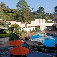 Africa, Kenya, Nairobi. The pool and gardens at The Tribe Hotel.