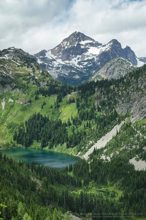 Black Peak and Lake Ann seen from Maple Pass Trail, North Cascades Washington
