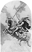 Brunhilde foremost of the Valkyries, daughter of Wotan and Erda, bearing a wounded warrior to Valhalla.  Illustration for the opera 'Die Walkure' by Richard Wagner.