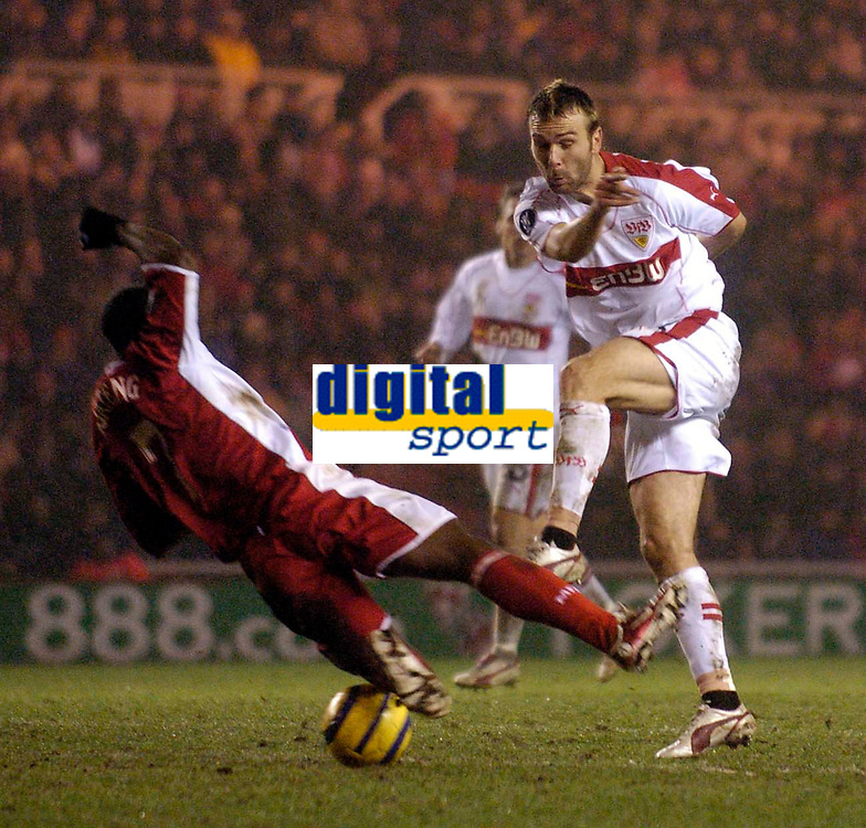 Photo: Jed Wee.<br /> Middlesbrough v Stuttgart. UEFA Cup. 23/02/2006.<br /> <br /> Middlesbrough's George Boateng (L) throws himself to block a shot from Stuttgart's Daniel Bierofka.